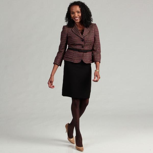Tahari ASL Women's 2-piece Novelty Crepe Belted Skirt Suit