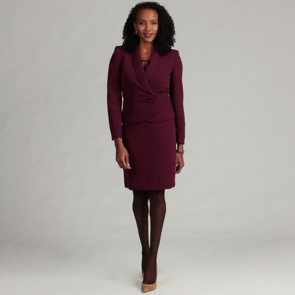 Tahari Women's Raisin Purple Skirt Suit