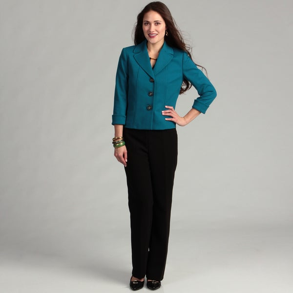 Tahari Women's Teal 3-button Pant Suit