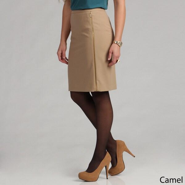 Calvin Klein Womens Lux Stretch Zipper Pencil Skirt