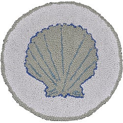 Sea Shell Wool Hooked Chair Pad