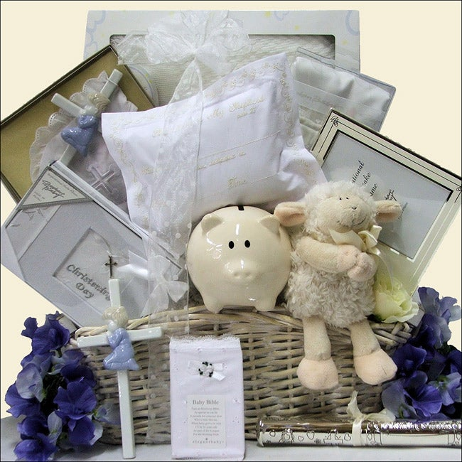 Beautiful Blessings on Your Christening Baby Boy Gift Basket