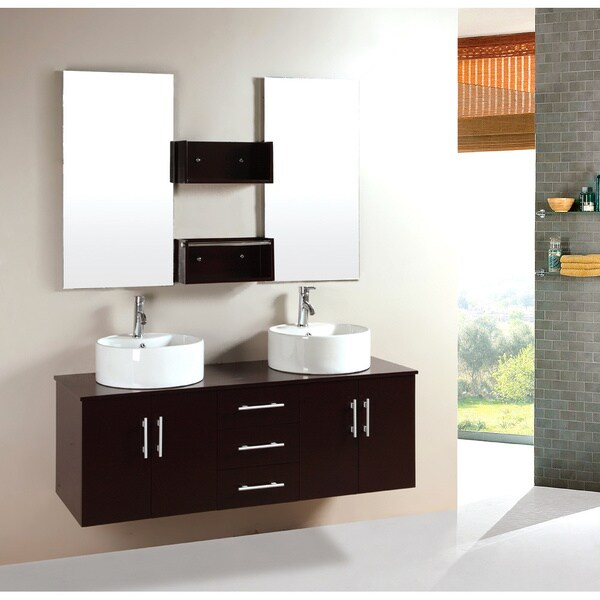 Kokols 59-inch Bathroom Double Sink Vanity with Mirror and Faucets