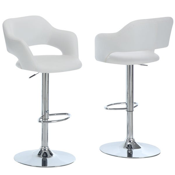 metal chrome white hydraulic lift bar stool free shipping today 14187286. Black Bedroom Furniture Sets. Home Design Ideas