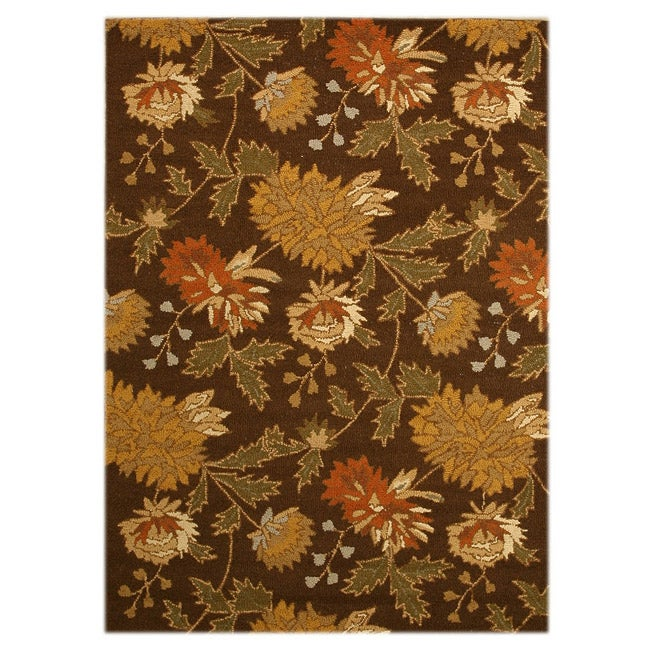 EORC Hand-tufted Wool Brown Electra Rug (5' x 7')