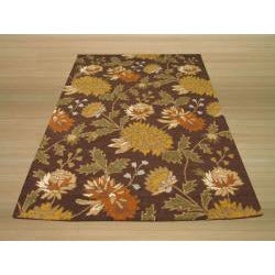 EORC Hand-tufted Wool Brown Electra Rug (5' x 7') - Thumbnail 2