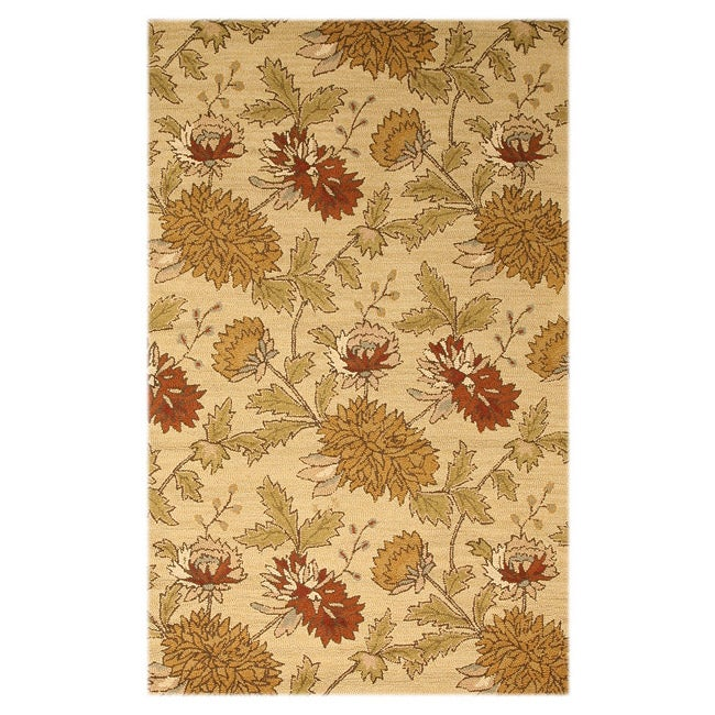 Hand-tufted Wool Beige Transitional floral Electra Rug (5' x 8')