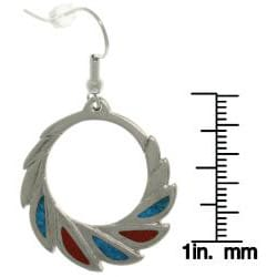 Carolina Glamour Collection Pewter Created Turquoise and Red Block Stone Feather Hoop Earrings