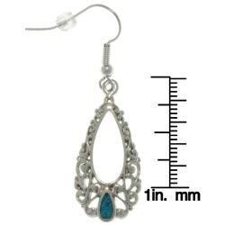 Carolina Glamour Collection Pewter Created Turquoise Filigree Teardrop Earrings