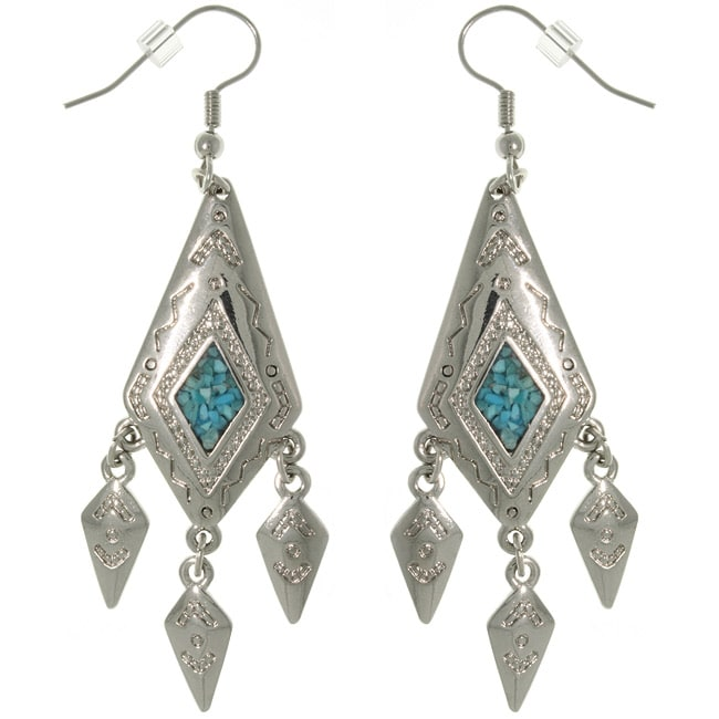 Carolina Glamour Collection Pewter Created Turquoise Diamond-shaped Dangle Earrings