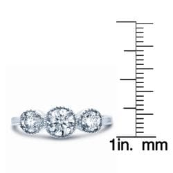 18k White Gold 1ct TDW Three Stone Vintage Inspired Diamond Ring (H-I, SI)