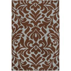 Hand-woven Brown Market D Wool Rug (8' x 11')