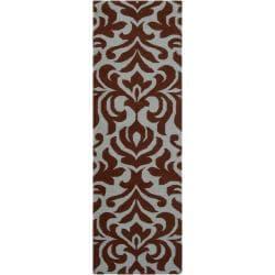 Hand-woven Brown Market D Wool Rug (2'6 x 8')