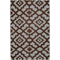 Hand-woven Blue Market C Wool Area Rug - 5' x 8'