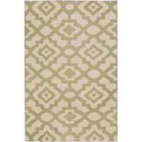 Hand-woven Natural Market B Wool Area Rug - 5' x 8'