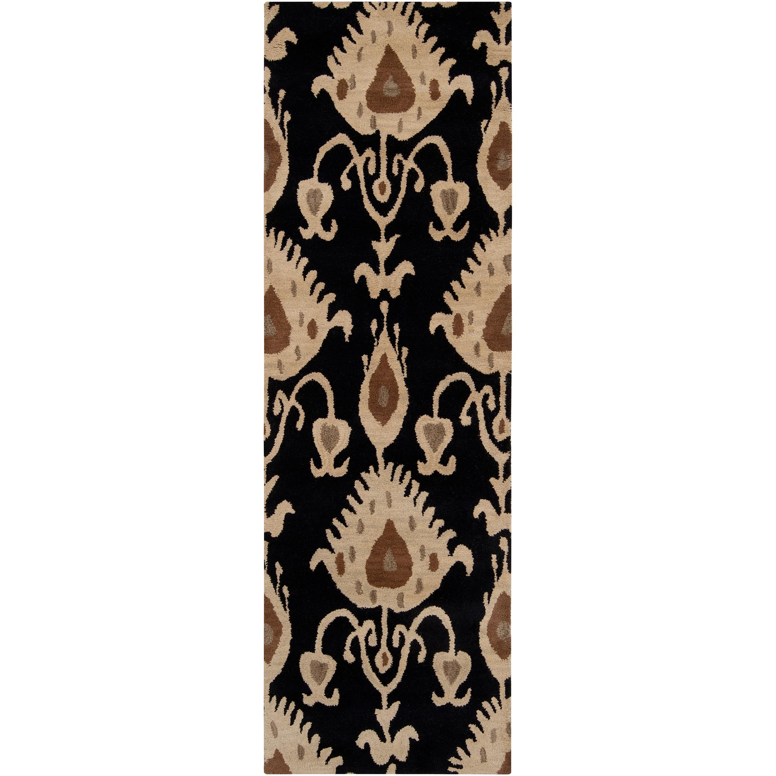 Hand-tufted Black Mercury57 Wool Rug (2'6 x 8')