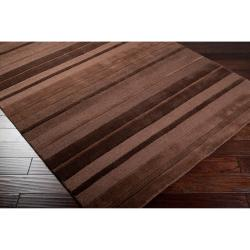 Hand-crafted Brown Stripe Casual Mystique Wool Rug (8' x 11') - Thumbnail 1