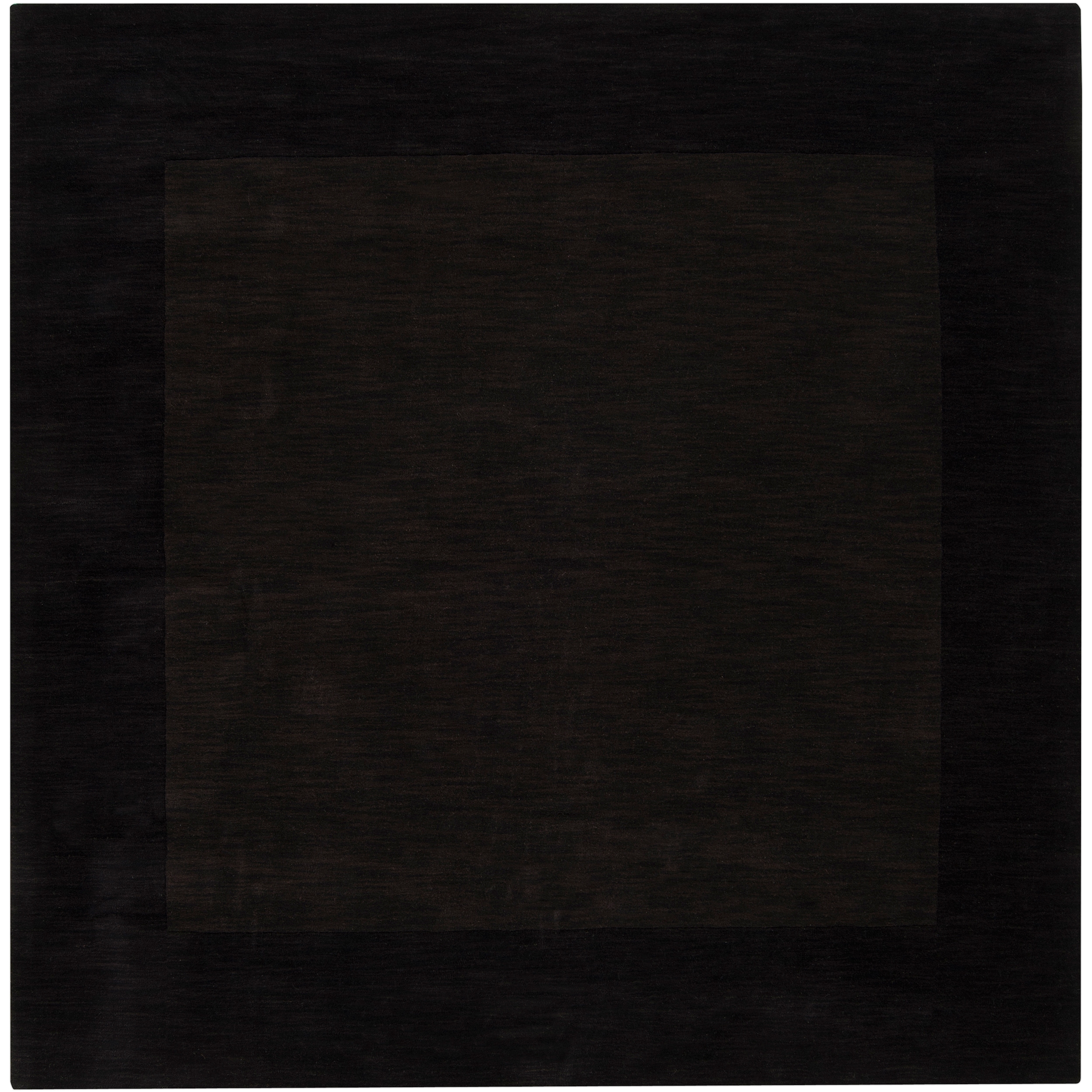 Hand-crafted Dark Brown Tone-On-Tone Bordered Inster Wool Rug (8' Square)