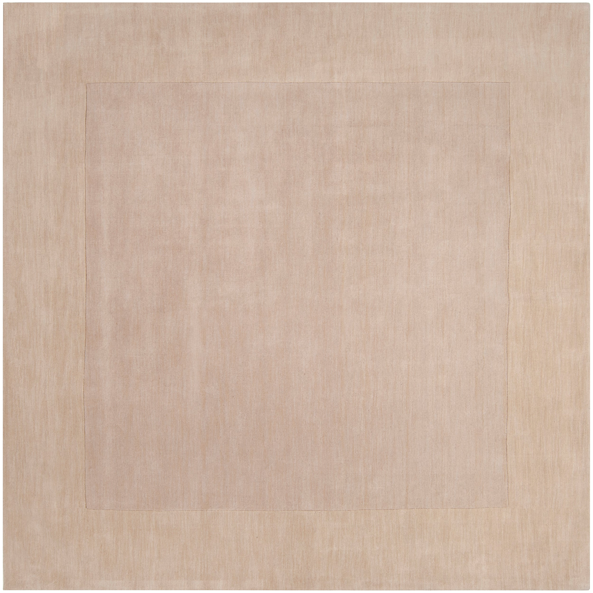 Hand-crafted White Tone-On-Tone Bordered Mezen Wool Rug (9'9 Square)