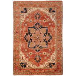 Hand-knotted Red Decatner Wool Rug (5'6 x 8'6)