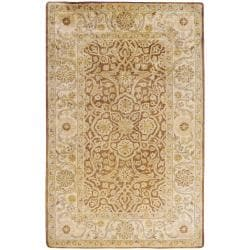 Hand-tufted Brown Panel New Zealand Wool Area Rug (3'3 x 5'3) - Thumbnail 0