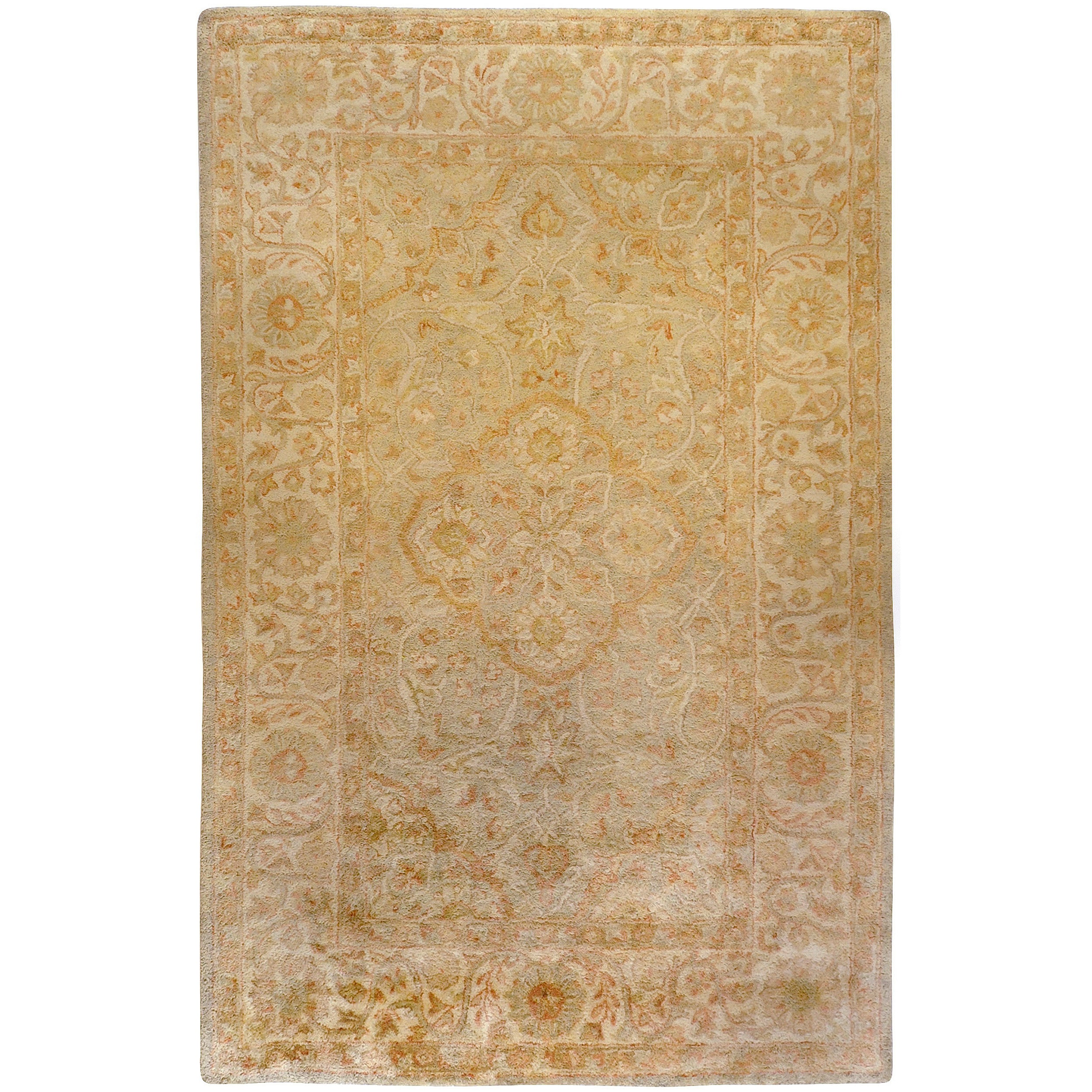 Hand-tufted Orange Panel A New Zealand Wool Area Rug (3'3 x 5'3)