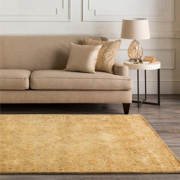 Hand-tufted Orange Panel A New Zeland Wool Area Rug - 5' x 8'