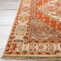 Hand-knotted Red Scoure Wool Area Rug - 9' x 13'