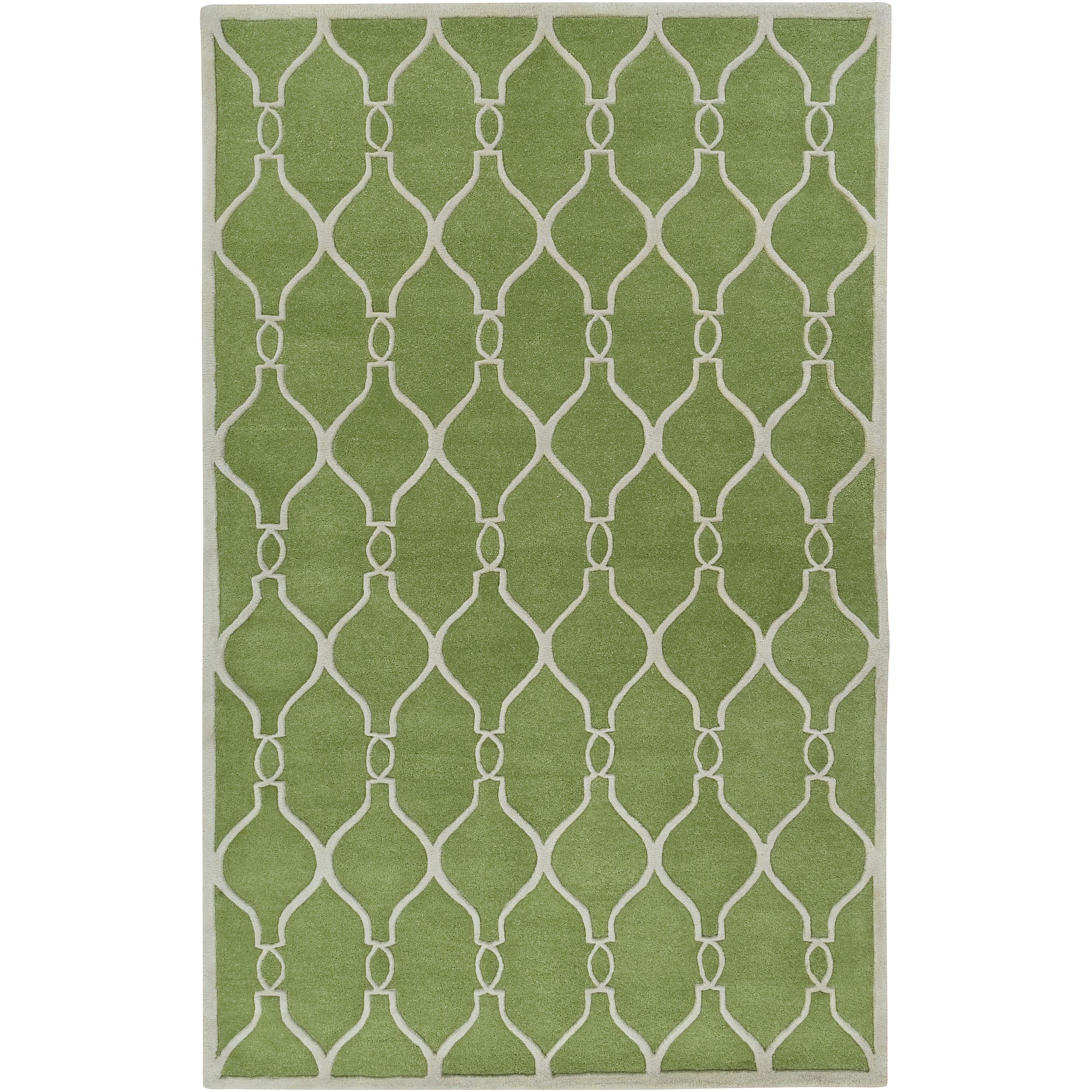 Hand-tufted Green Duvet Geometric Trellis Wool Rug (8' x 11')