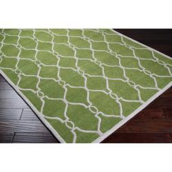 Hand-tufted Green Duvet Geometric Trellis Wool Rug (8' x 11') - Thumbnail 1