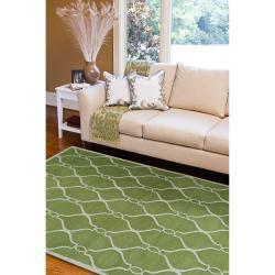Hand-tufted Green Duvet Geometric Trellis Wool Rug (8' x 11') - Thumbnail 2