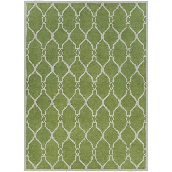 Hand-tufted Green Duvet Geometric Trellis Wool Area Rug - 8' X 11'