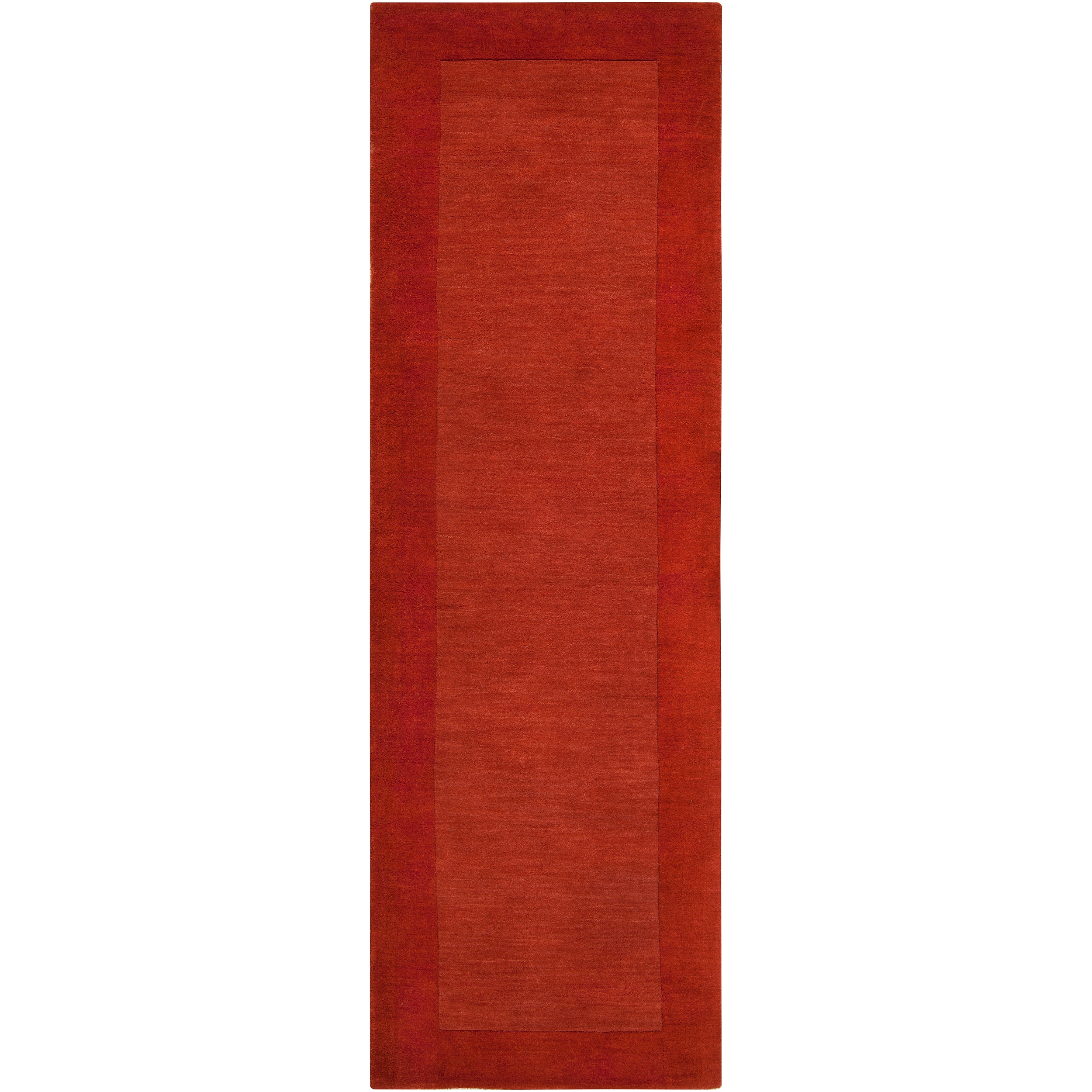 Hand-crafted Orange Tone-On-Tone Bordered Pechora Wool Rug (2'6 x 8')