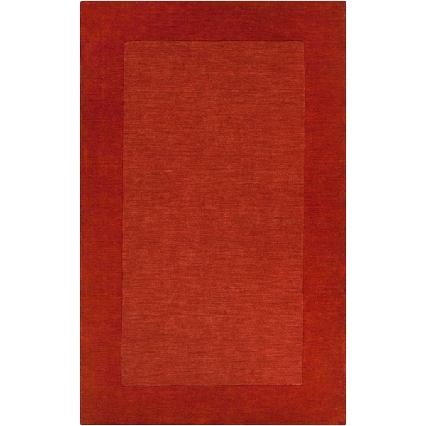 Hand-crafted Orange Tone-On-Tone Bordered Pechora Wool Area Rug - 6' x 9'