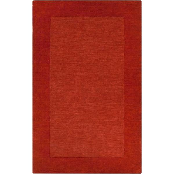 "Hand-crafted Orange Tone-On-Tone Bordered Pechora Wool Area Rug - 7'6"" x 9'6"""