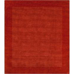 Hand-crafted Orange Tone-On-Tone Bordered Pechora Wool Area Rug (8' Square) - Thumbnail 0