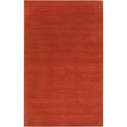 Hand-crafted Orange Solid Casual Pinega Wool Rug (5' x 8')