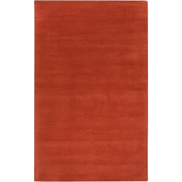 Hand-crafted Orange Solid Casual Pinega Wool Area Rug - 5' x 8'