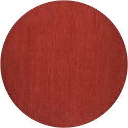 Hand-crafted Orange Solid Casual Pinega Wool Rug (6' Round)