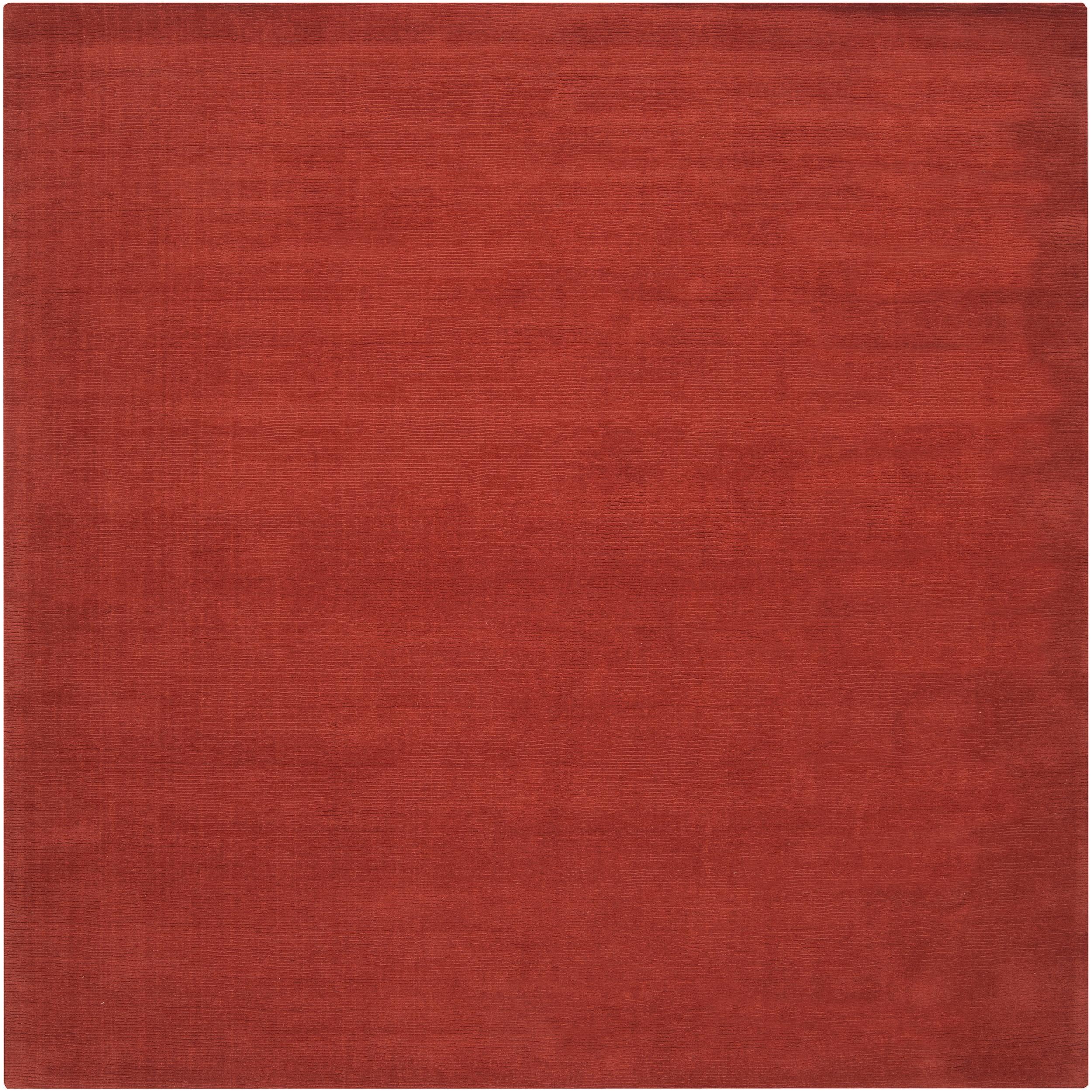 SURYA Hand-crafted Orange Solid Casual Pinega Wool Rug (8...