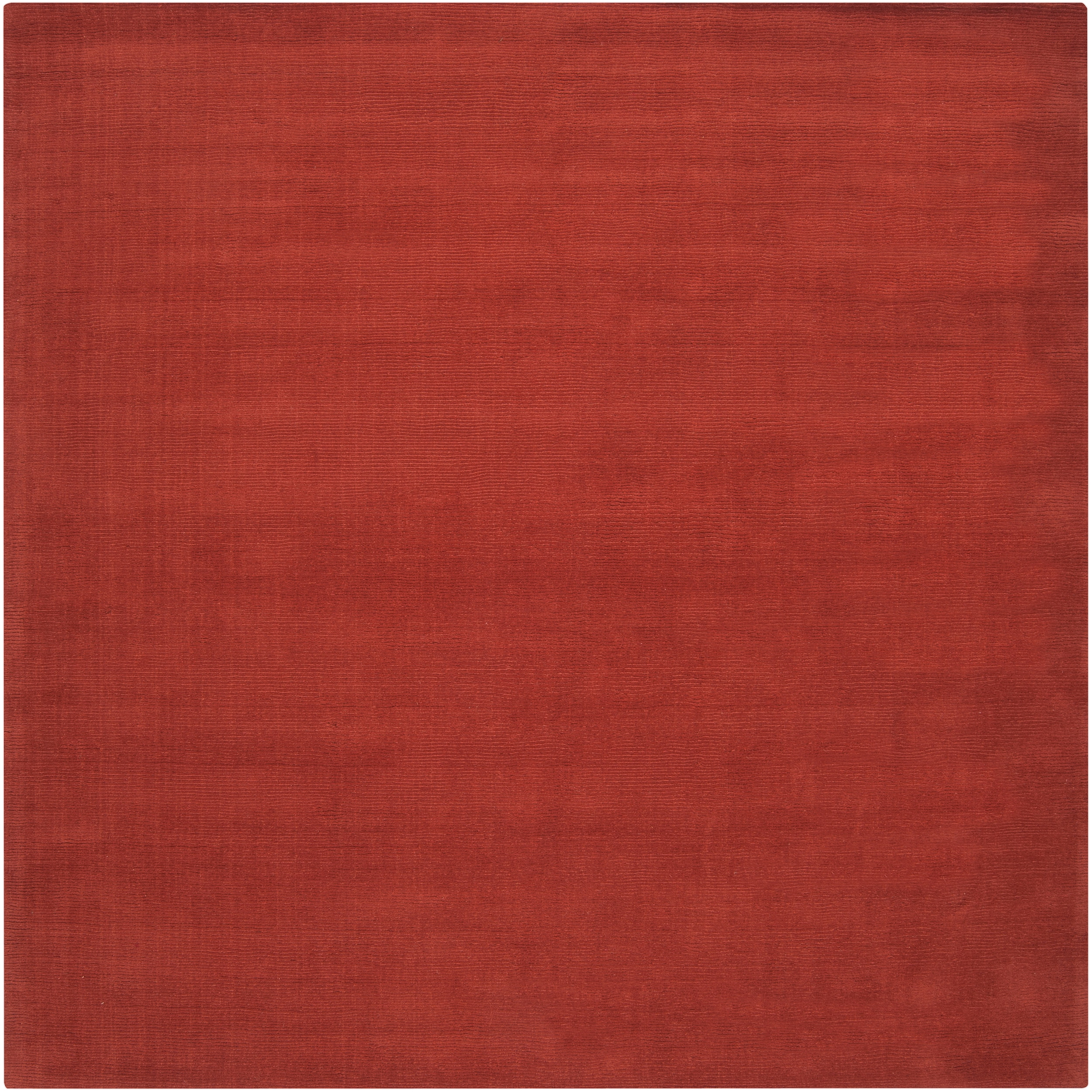 Hand-crafted Orange Solid Casual Pinega Wool Rug (9'9 Square)