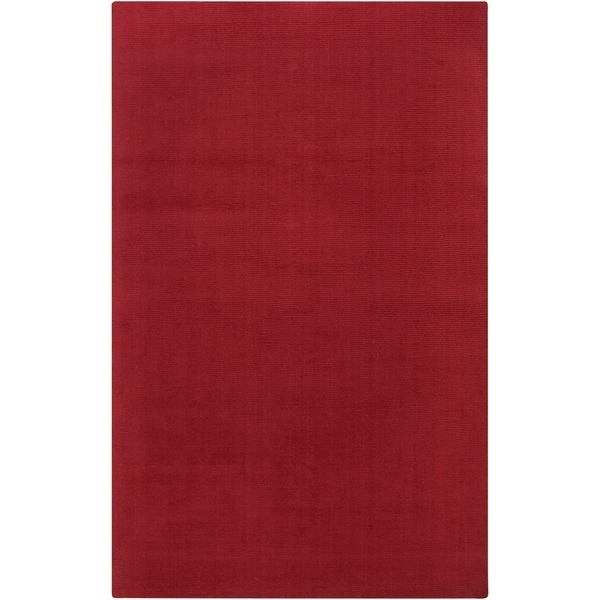 "Hand-crafted Red Solid Casual Vaga Wool Area Rug - 3'3"" x 5'3"""