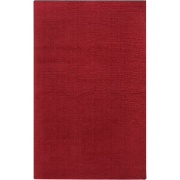 Hand-crafted Red Solid Casual Vaga Wool Area Rug - 5' x 8'