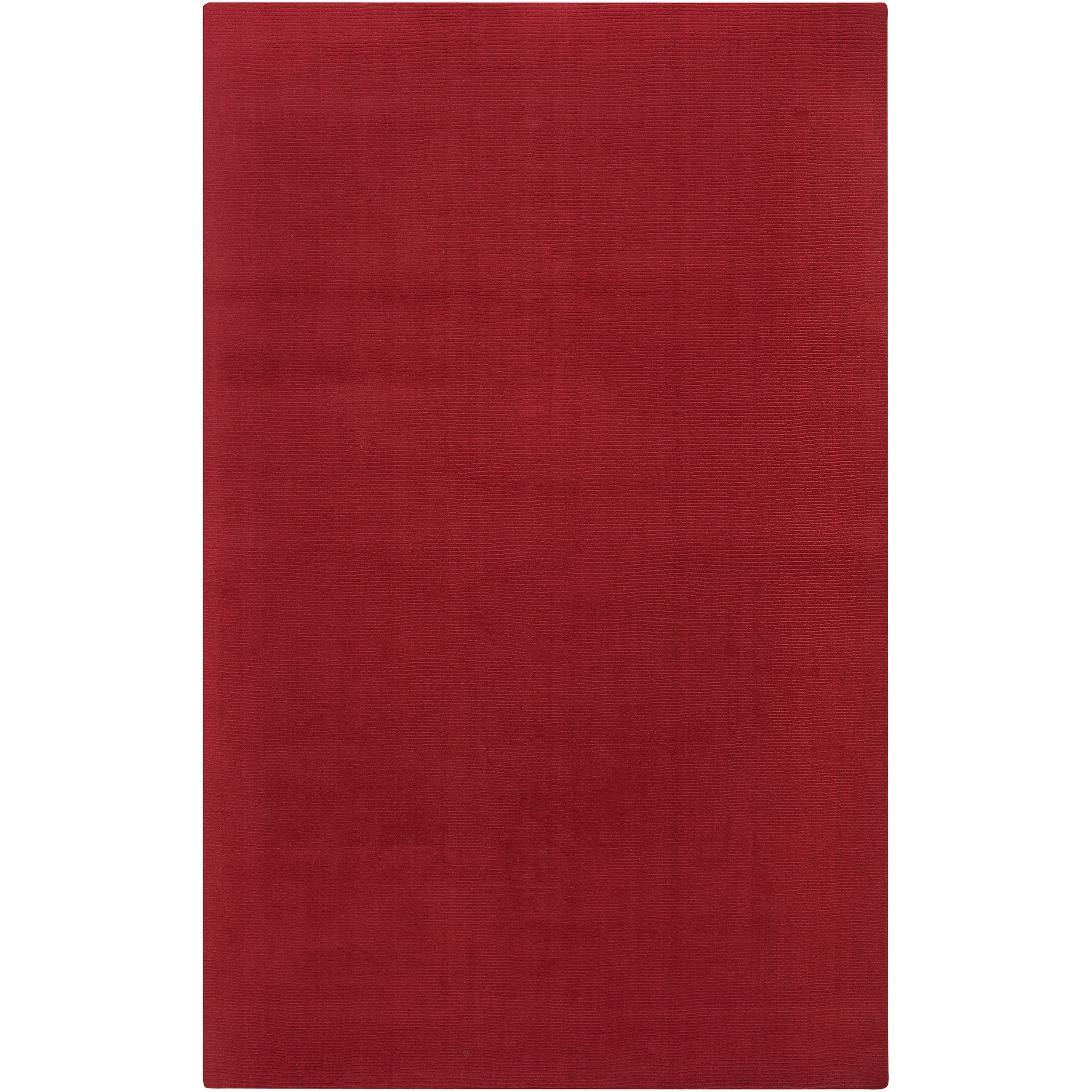 Hand-crafted Red Solid Casual Vaga Wool Area Rug (6' x 9')
