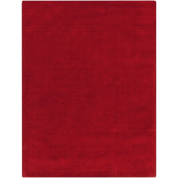 Hand-crafted Red Solid Casual Vaga Wool Area Rug - 6' x 9'