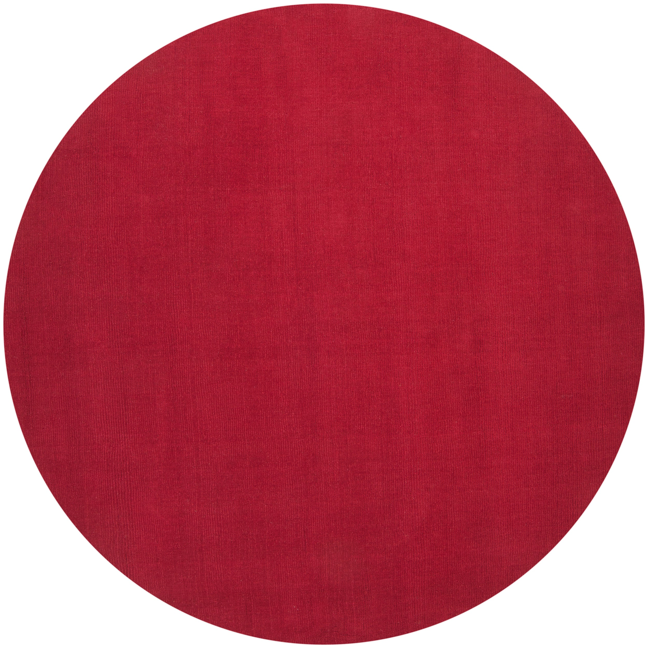 Hand-crafted Red Solid Casual Vaga Wool Area Rug (8' Round)