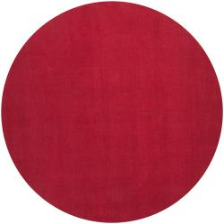 Hand-crafted Red Solid Casual Vaga Wool Rug (8' Round)