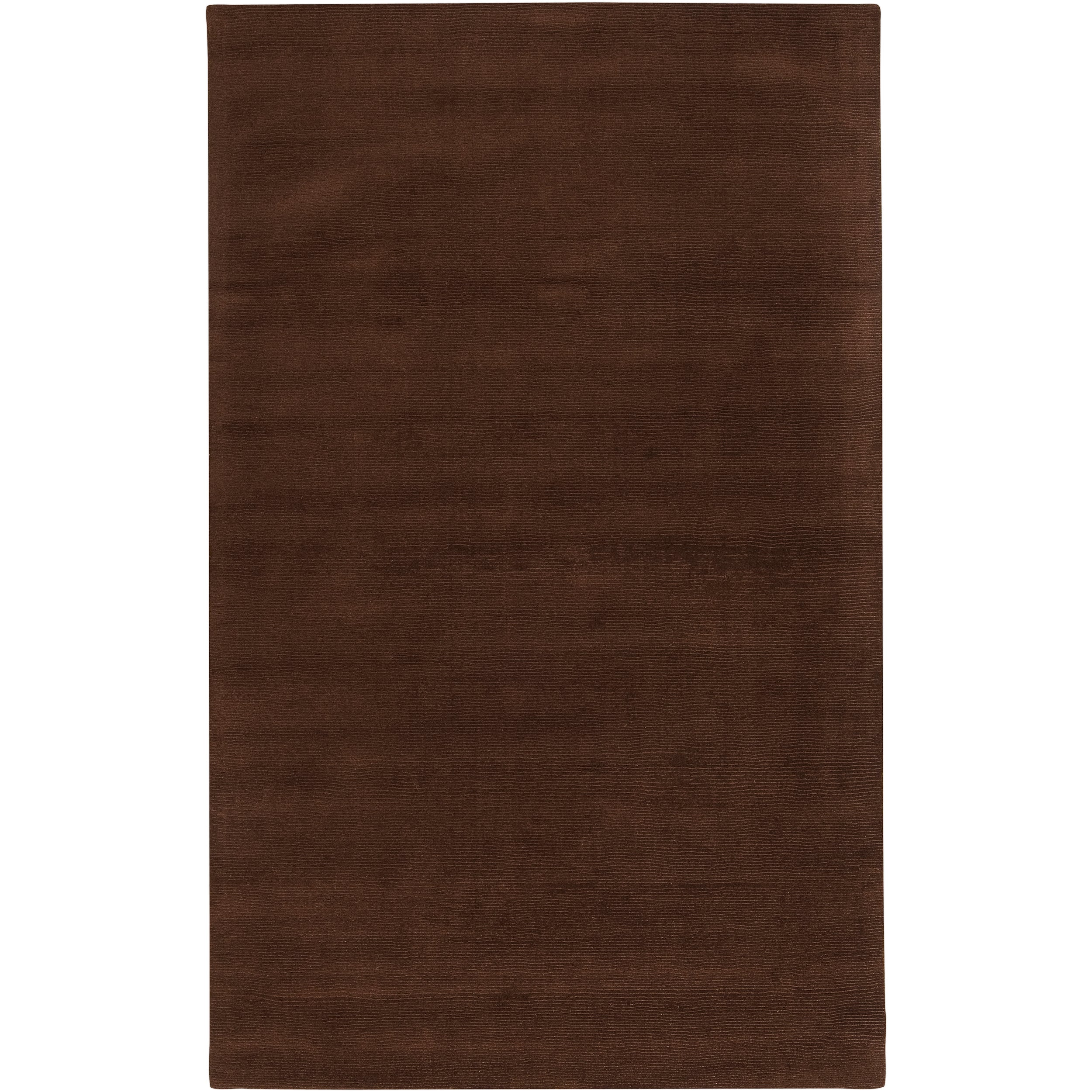 Hand-crafted Brown Solid Casual Nivia Wool Rug (6' x 9')