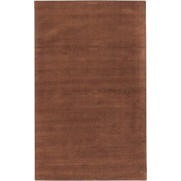 "Hand-crafted Brown Solid Casual Nivia Wool Area Rug - 7'6"" x 9'6"""