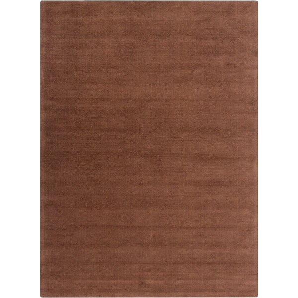 Hand-crafted Brown Solid Casual Nivia Wool Area Rug - 8' X 11'